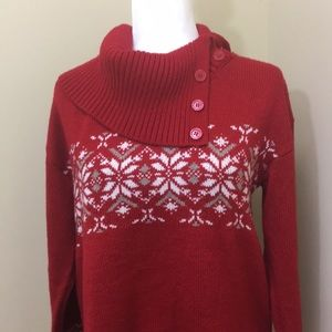 New York & Company Red Sweater w/cowl-neck sz L